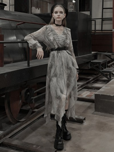 Punk Rave Grey Street Fashion Gothic Grunge Chiffon Irregular Long Dress