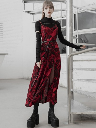 Punk Rave Red Street Fashion Gothic Grunge Slit Long Dress