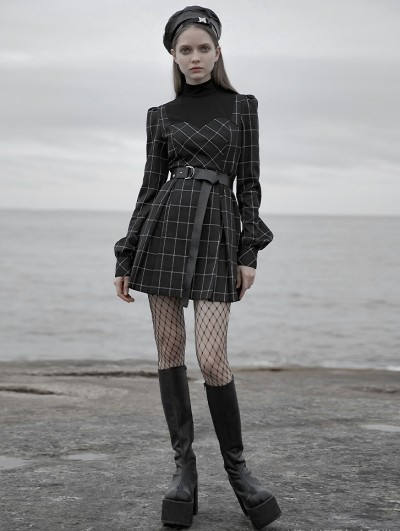 Punk Rave Black Plaid Street Fashion Vintage Gothic Grunge Long Sleeve Short Dress