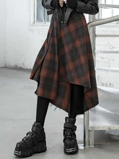 Punk Rave Orange Plaid Street Fashion Vintage Gothic Grunge Irregular Long Skirt
