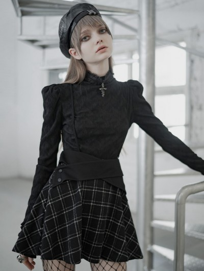 Punk Rave Black and White Plaid Street Fashion Gothic Grunge Short Suspender Skirt