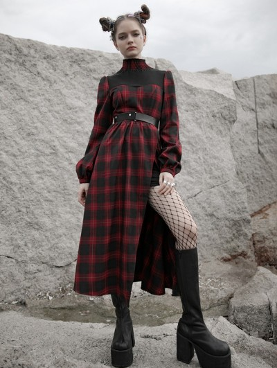Punk Rave Red Plaid Street Fashion Vintage Gothic Grunge Slit Long Dress