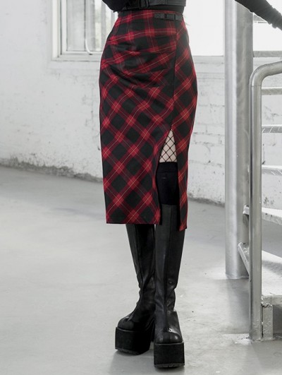 Punk Rave Red Plaid Street Fashion Gothic Grunge Slit A-Line Long Skirt