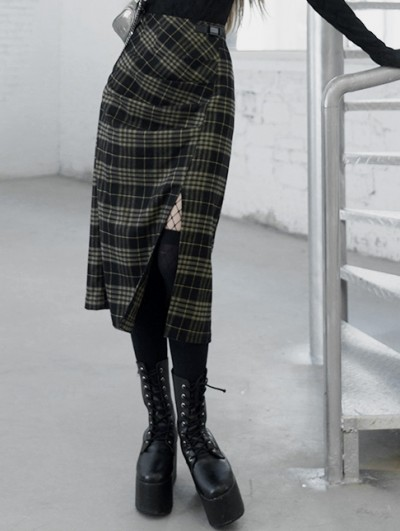 Punk Rave Yellow Plaid Street Fashion Gothic Grunge Slit A-Line Long Skirt