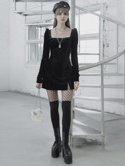 Punk Rave Black Street Fashion Vintage Gothic Grunge Velvet Sexy Short Dress
