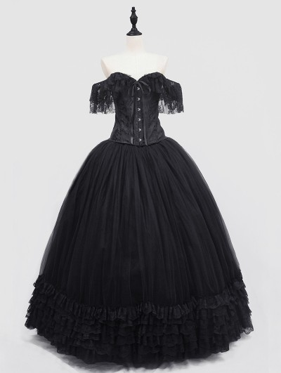 Rose Blooming Romantic Black Off-the-Shoulder Gothic Lace Corset Long Prom Ball Dress