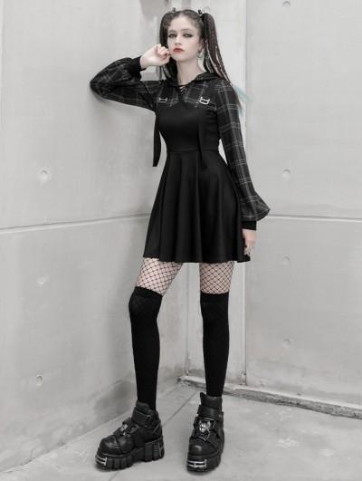 Punk Rave Black Plaid Street Fashion Gothic Grunge Fake Two-Piece Hooded Casual Dress