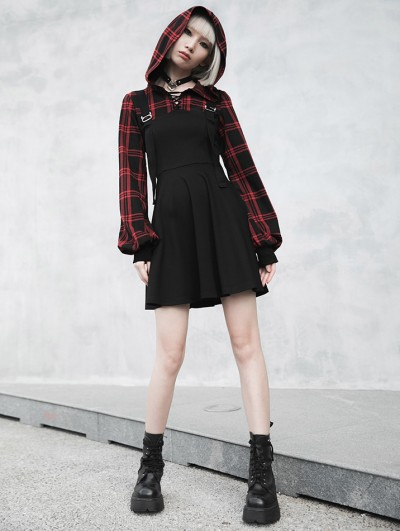 Punk Rave Black and Red Plaid Street Fashion Gothic Grunge Fake Two-Piece Hooded Casual Dress