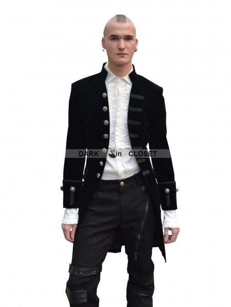 Pentagramme Black Alternative Pattern Gothic Jacket For Men