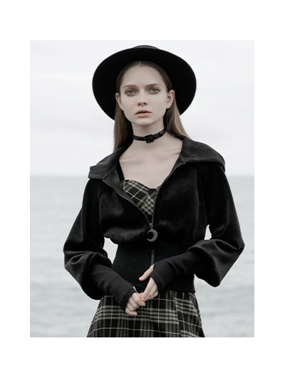 Punk Rave Black Street Fashion Gothic Grunge Velvet Hooded Short Casual Jacket for Women