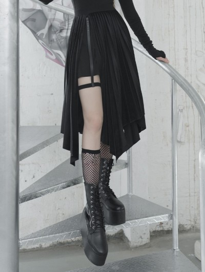 Punk Rave Black Street Fashion Gothic Grunge Velvet Irregular Pleated Casual Skirt