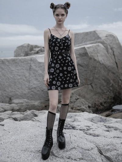 Punk Rave Black Street Fashion Gothic Grunge Velvet Sleeveless Mini Dress