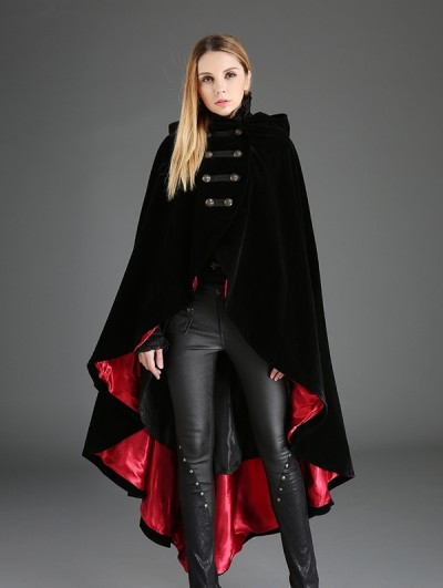 Pentagramme Black and Red Gothic Female Woolen Long Hoodie Cape
