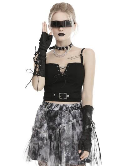 Dark in Love Black Gothic Punk Ripped Gloves for Women