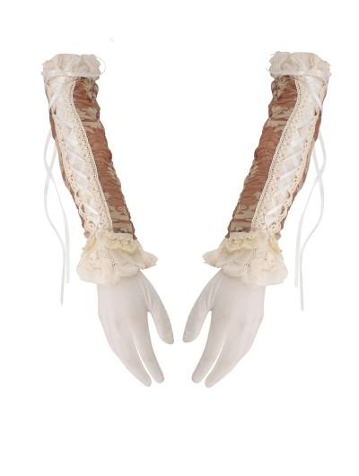 Dark in Love Ivory Steampunk Lace Long Gloves for Women