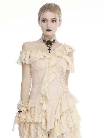Dark in Love Ivory Steampunk Lace Short Gloves for Women