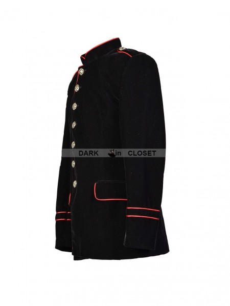 094d88a7bbf ... Pentagramme Black and Red Military Style Gothic Jacket for Men ...