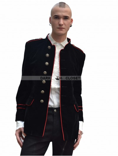 Pentagramme Black and Red Military Style Gothic Jacket for Men
