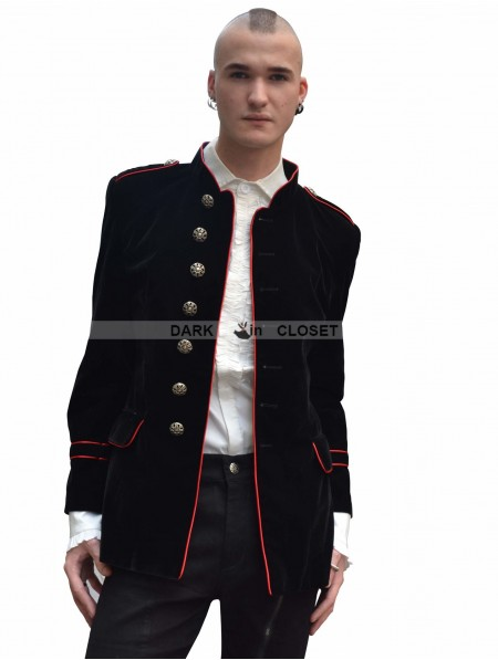 Pentagramme Black And Red Military Style Gothic Jacket For