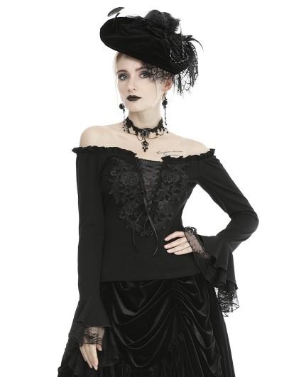 Dark in Love Black Vintage Gothic Romantic Flower Off-the-Shouder Long Sleeve Top for Women