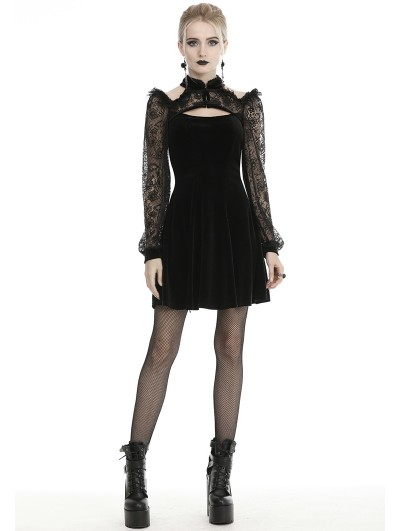 Dark in Love Black Vintage Gothic Velvet Lace Long Sleeve Short Dress