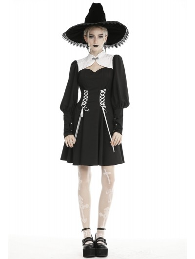 Dark in Love Black and White Gothic Witch Long Sleeve Short Dress