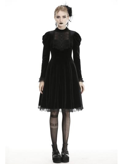 Dark in Love Black Gothic Doll Velvet Long Sleeves Midi Dress