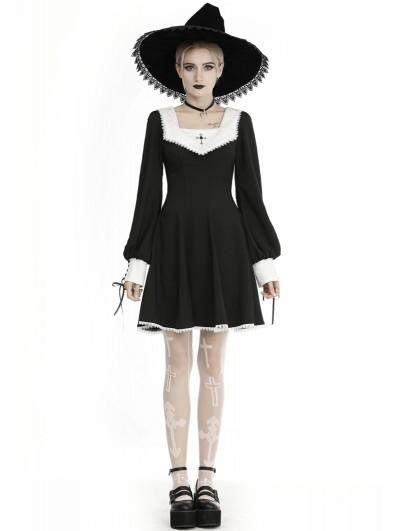 Dark in Love Black and White Gothic Cross Long Sleeve Short Dress