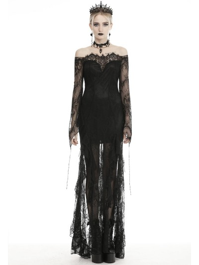 Dark in Love Black Romantic Gothic Lace Off-the-Shoulder Long Fishtail Dress