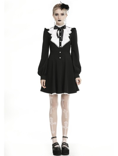 Dark in Love Black and White Gothic Grunge Long Sleeve Short Casual Dress