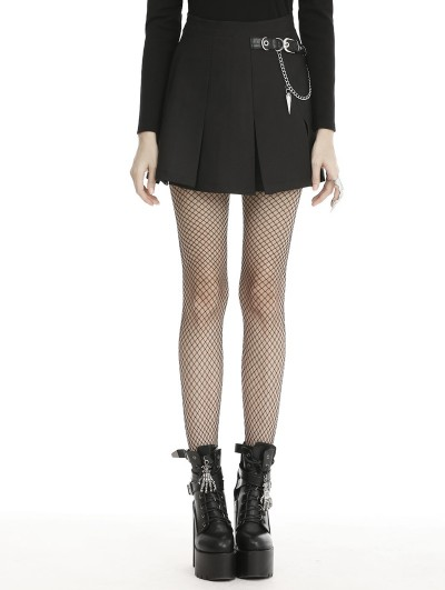 Dark in Love Black Gothic Grunge Punk Metal Chain Pleated Mini Skirt