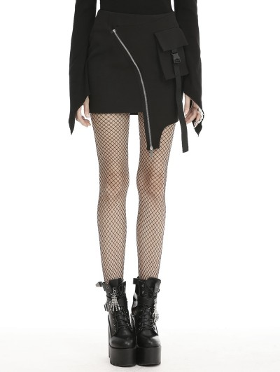 Dark in Love Black Gothic Grunge Punk Moto Irregular Mini Skirt
