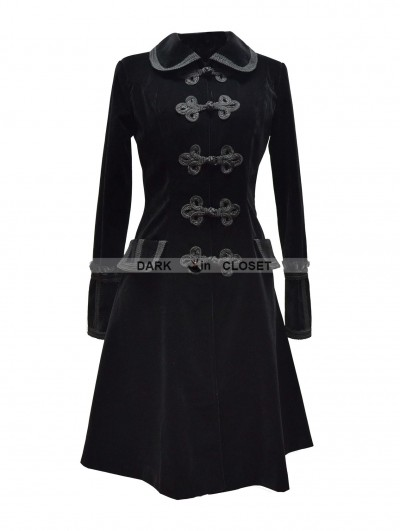 Pentagramme Black Chinese Style Gothic Long Coat for Women