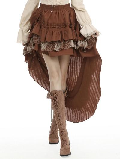 Dark in Love Brown Steampunk Frilly High-Low Skirt