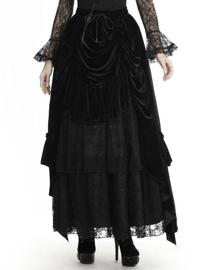 Dark in Love Black Vintage Gothic Velvet Lace Long Party Skirt
