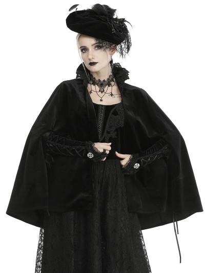 Dark in Love Black Vintage Gothic Velvet Bolero Cape for Women