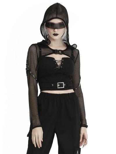 Dark in Love Black Gothic Punk Fishnet Hooded Cape for Women