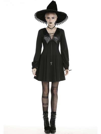 Dark in Love Black Gothic Bat Cross Long Sleeve Short Casual Dress