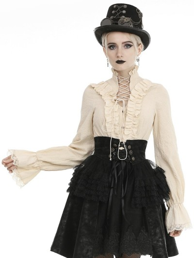 Dark in Love Ivory Vintage Steampunk Long Sleeve Blouse for Women