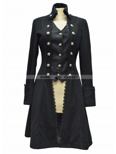 Pentagramme Black Gothic Long Coat for Women