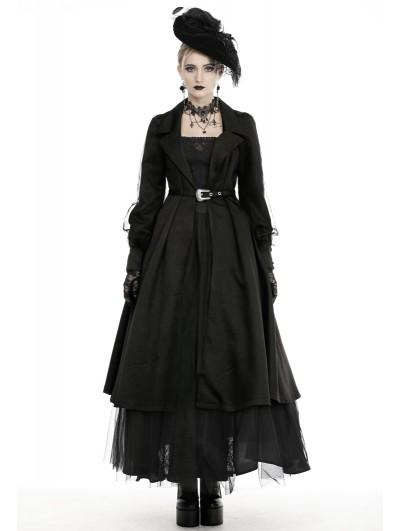 Dark in Love Black Vintage Elegant Gothic Long Belt Casual Coat for Women