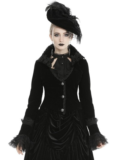 Dark in Love Black Vintage Gothic Velvet Flower Short Jacket for Women