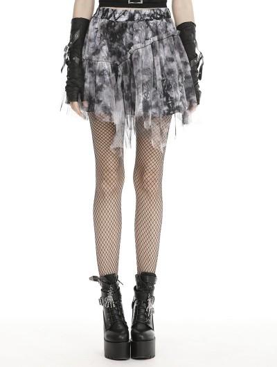 Dark in Love Black Gothic Punk Grunge Decadent Irregular Mini Skirt