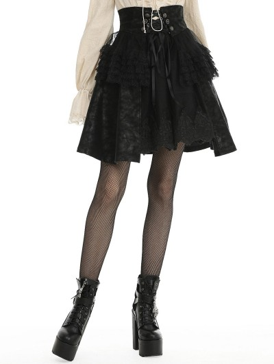 Dark in Love Black Gothic PU Leather Short Layered Skirt
