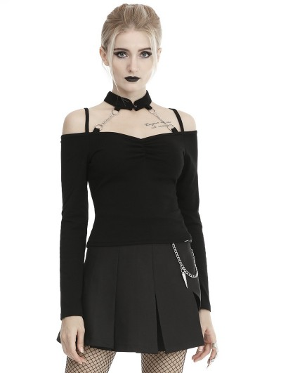 Dark in Love Black Gothic Punk Off-the-Shoulder Long Sleeve Casual T-Shirt for Women