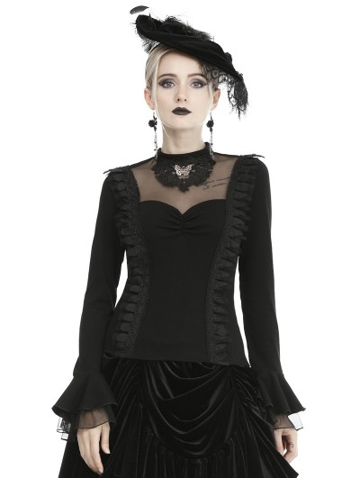 Dark in Love Black Vintage Gothic Long Sleeve Daily Wear Shirt for Women