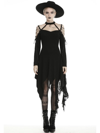 Dark in Love Black Gothic Grunge Off-the-Shoulder Irregular Long Sleeve Daily Wear Dress