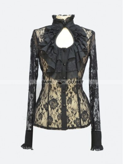 Pentagramme Black Rose Lace Keyhole Sexy Gothic Blouse for Women