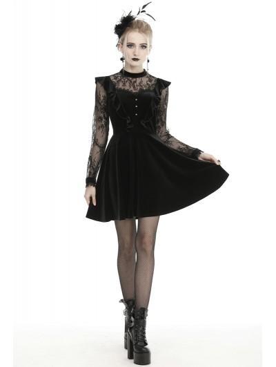 Dark in Love Black Cute Gothic Lace Velvet Long Sleeve Short Casual Dress