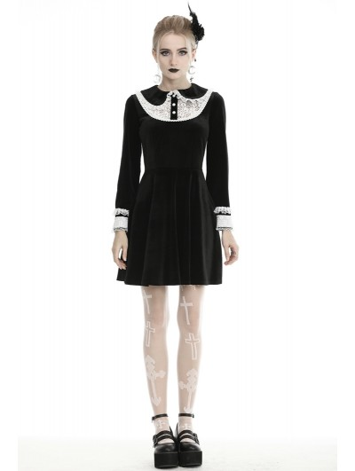Dark in Love Black and White Cute Gothic Velvet Long Sleeve Short Casual Dress